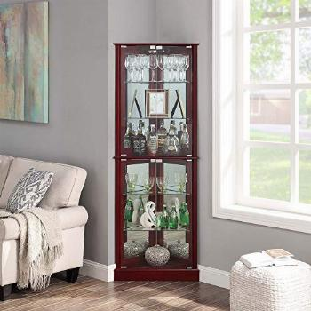 BELLEZE Woody Lighted Corner Curio Cabinet Tempered Glass