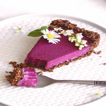 Blueberry tart with chocolate and walnut base | vegan, gluten free | Flowers in the Salad -  Bluebe