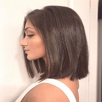 Chocolate brown bob  Rich Chocolate brown hair color with a blunt bob haircut