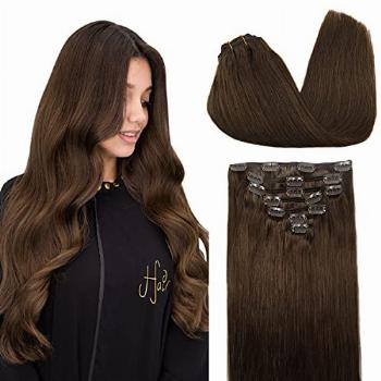 DOORES 24 Inch 120g Remy Hair Extensions Clip in Chocolate