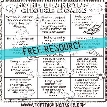 Free Home Learning Choice Boards Free Home Learning Choice Boards. To help with any teachers dealin