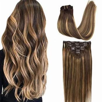 GOO GOO 22 inch Clip in Hair Extensions Chocolate Brown to