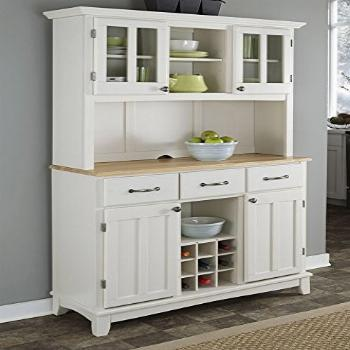 Home Styles Buffet of Buffets White Server with Natural Wood