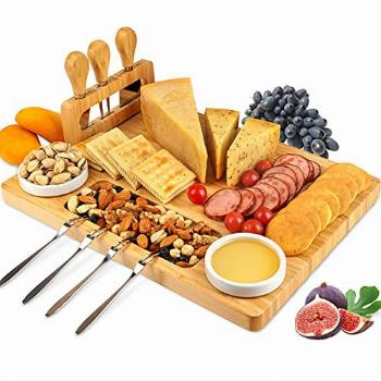 ROYAMY Bamboo Cheese Board Set with 3 Stainless Steel Knife,