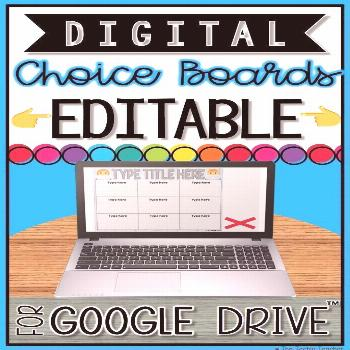 These EDITABLE Digital Choice Boards for Google Drive™️ are a great way to allow student choice