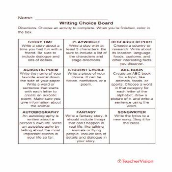 This choice board is a great way for your students to practice what they've learned in writing. The