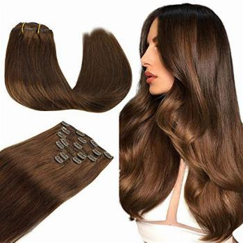 WENNALIFE Clip in Human Hair Extensions, 18 Inch 120g 7pcs