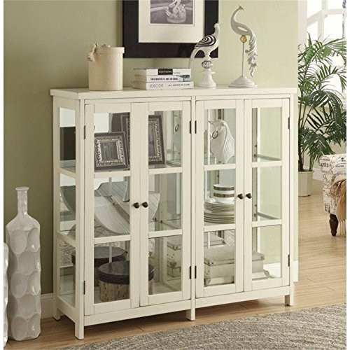 BOWERY HILL 4 Door Glass Display Curio China Accent Cabinet