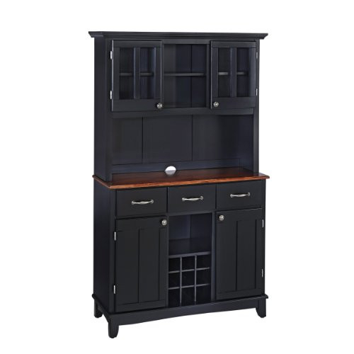 Homestyles Buffets Medium Cherry with Wood Top with Hutch by