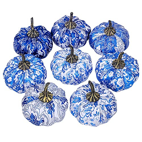 Set of 8 Faux Chinoiserie Chic Pumpkins Blue and White